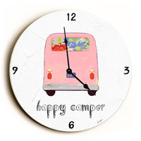 Happy Camper Unique Wall Clock by Artist Lisa Weedn