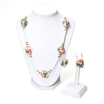 Castlecliff Necklace Earring Set White Milk Glass Beads Colorful Confetti Mosaic Beads