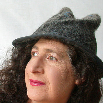 Womens Fedora Hat - Hand Felted Grey Wool Hat -  1940s Style