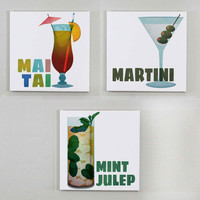 Classic Cocktails Wall Art - Retro Drink Wall Canvas Set of 3 - Mai Tai Print, Martini Print, Mint Julep Print, Mid Century Decor, Mad Men