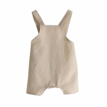 Summer Baby Girl Boy Suspender Rompers Infant Kid Jumpsuit Soft Linen Clothes Overalls