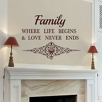 Wall Decals Family Where Life Begins Quote Decal Vinyl Sticker Home Decor Bedroom Dorm Living Room MN 87