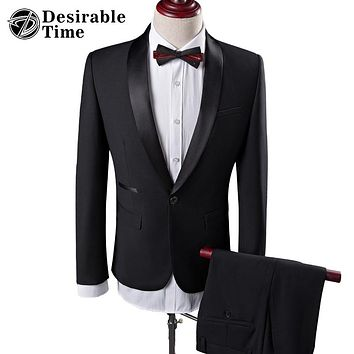 Men Black Wedding Prom Suits S-4XL Fashion Shawl Collar Men Tuxedo Suit Costume Homme Mariage DT025