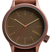 Men's Komono 'Magnus' Leather Strap Watch, 44mm - Bronze Brown