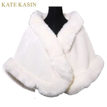 New Winter Faux Fur Tippet Ivory Warm Bride Jacket For Wedding Shawls Wraps Women Bridal Coat