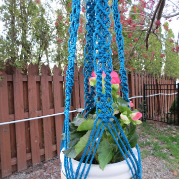 "Macrame Plant Hanger, 47"", Sapphire, 4mm poly cord, Unique Pattern, Handcrafted, Hippy, Hippie, Boho, Tribal, Garden Decor, 70s, Retro, Gift"