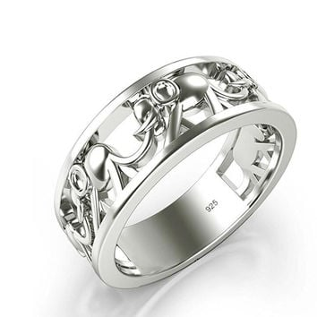 Sterling Silver Elephant Family Migration Ring 925+Gift Box