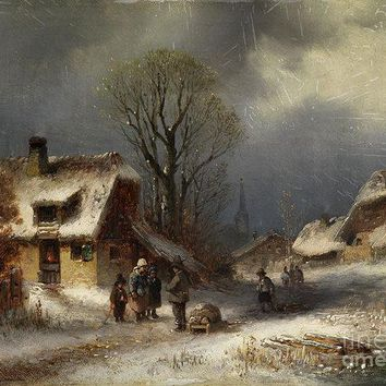 Winter Village Scene - Art Print