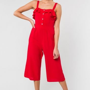 Red Ruffle Cropped Jumpsuit