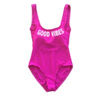Hot Pink Good Vibes One Piece Swimsuit