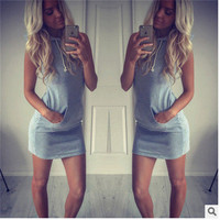 Hot Popular Sleeveless Hoody Mini Skirt One Piece Dress _ 7940