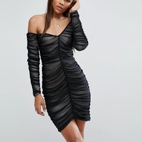 ASOS TALL Mesh Ruched Off The Shoulder Mini Bodycon Dress at asos.com