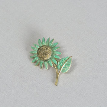 Vintage 1960s Green Flower Brooch Enamel Painted Sunflower Gold Toned