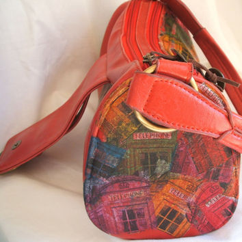 Embellished hand bag by Modapelle, Brit chic bag, decoupage tote bag with colorful phone booth theme