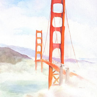 Golden Gate Bridge, ORIGINAL Watercolor Painting, 12x16, San Francisco, California, Bay Area, Coastal Fog, Presidio, SF wall art