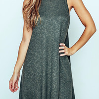 RIBBED KNIT MOCK NECK SWING DRESS
