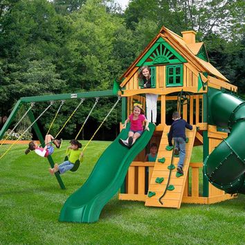 Gorilla Playsets Mountaineer Clubhouse Treehouse Wooden Swing Set