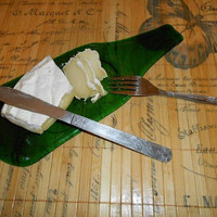 Melted Flattened Glass Bottle Serving Tray. Kitchen decor, wall decor, gift