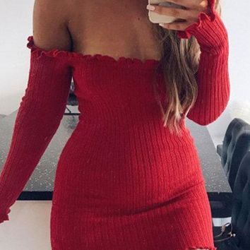 Red Off-The-Shoulder Frill Hem Bodycon Mini Dress