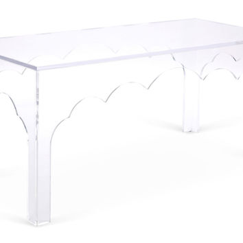 "Scallop 42"" Coffee Table, Clear, Acrylic / Lucite, Coffee Table Base, Sofa Table"