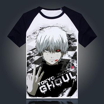 Tokyo Ghoul T-shirt New Japan Anime Ken Kaneki Cosplay Costume Comfortable Breathable Milk Fiber T Shirt For Men Women Tops Tees
