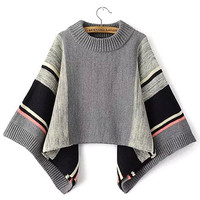 Cape Sweater with Contrast Stripe Detail