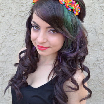 Neon Rainbow Rose Headband