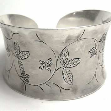 Sterling Silver Wide Cuff, open adjustable Bracelet/ bangle, etched with branch of leaves & flowers, Handmade
