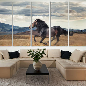 Horse Photography Canvas Print Wall Art / Western Horse Decor Giclee Fine Art Canvas Print Nature Photography Print Galloping Horse Wall Art