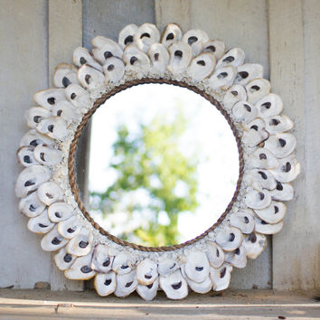 Round Oyster Shell Mirror