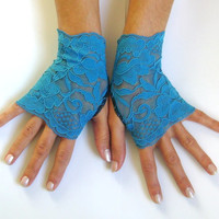 Blue lace gloves free ship something blue wedding prom bridal burlesque steampunk noir gypsy lolita cocktail tea party bridesmaid gift
