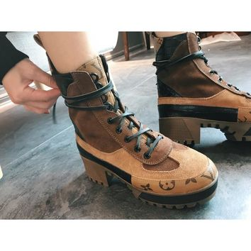 QIYIF Louis Vuitton new contrast color LV lace-up platform Martin booties High-heeled outdoor desert boots chunky women's boots brown