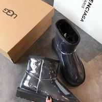 """UGG"" Women Fashion PVC Wool Snow Boots"