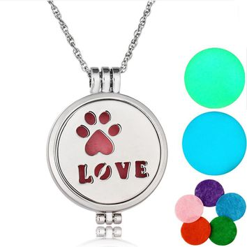 Caxybb Brand love  Silver Necklace Pendant Medallion Essential Oils of Aromatherapy Diffuser Necklace Luminous necklace