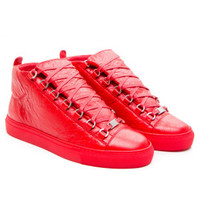 Balenciaga Red Crinkled Arena Opaque high lambskin Sneaker