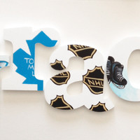 Hockey Themed Wooden Wall Name Letters / Hangings, Hand Painted for Boys Rooms, Play Rooms and Nursery Rooms