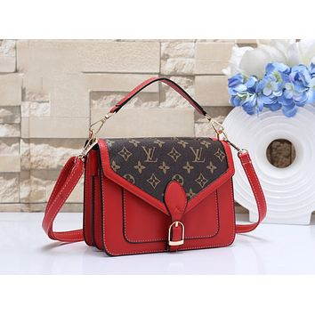 LV Louis Vuitton New Fashion Women Shopping Leather Handbag Tote Crossbody Satchel Shoulder Bag Red