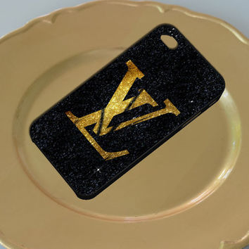 Logos LV Gold Black Glitter Art For Iphone 4/4s/5/5c/5s Plastic Case, iPhone 4/4s, 5 Rubber Case and Samsung S2/S3/S4 Plastic/Rubber case
