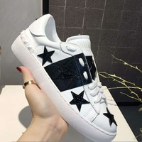 Valentino High Quality Fashionable Women Men Casual Leather Sport Shoes Sneakers White