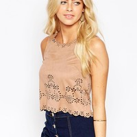 Parisian Suedette Top with Scallop Cutwork Detail