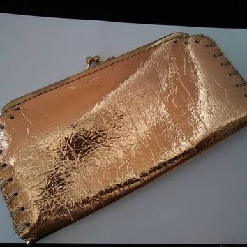 ON SALE Shiny Gold 1960's Clutch Purse Mad Men Mod Theater Prop Rockabilly Handbag Old Hollywood Glamour Style Accessories