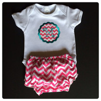 "New Baby Girls Chevron Monogramed ""M"" Onesuit Outfit 0/3 mo. Fast Shipping"