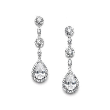 Pear-shaped Drop Bridal Earrings with Micro-Pave CZ