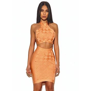 Anisa Lattice Weave Detail Two Piece Bandage Dress 6 colors