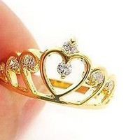 Moonar® Lovely Cute Gold Plated Hollow Out Crown Crystal Rhinestone Ring