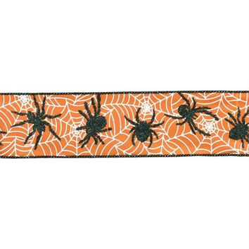 6 Halloween Ribbon - Orange, Black And White
