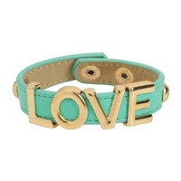 Faux Leather Love Bracelet