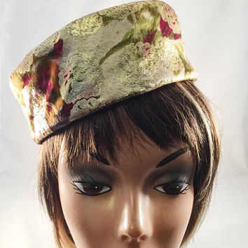 Vintage Pill Box Hat, Gold With Floral Pattern, Vintage Accessory, 1960's, Era Hat, Photo Shoot