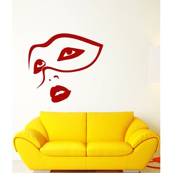 Vinyl Wall Decal Carnival Party Face Mask Sexy Girl Lips Stickers (3452ig)
