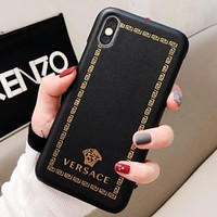 Versace Fashion New Pattern Human Head Print Leather Case Women Men Protective Cover Phone Case Black